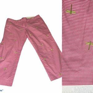 J. Crew pink plaid dragonfly capris